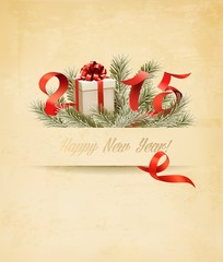 Holiday background with presents and a 2015. Vector.