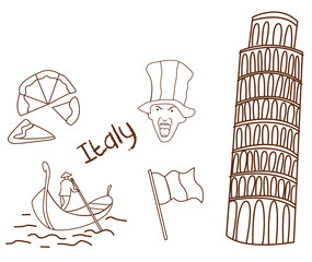 Italy tourism hand drawn Sketch Doodle