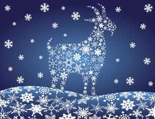 2014 Chinese Goat Snowflakes Vector Illustration