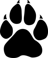 Black animal paw print isolated on white, vector illustration