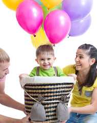 family play at birthday party and playing with son in flight on