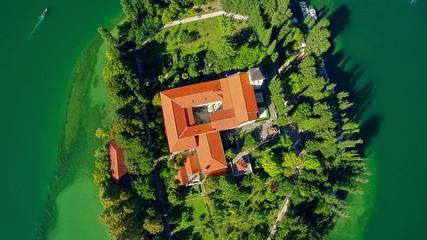 Monastery Visovac, aerial ascent shot