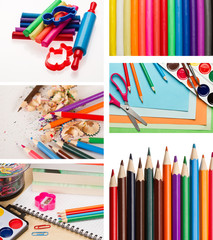 Set of color pencils and shool supplies