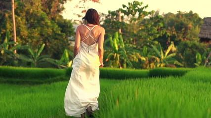 Woman in white dress walking through rice field, slow motion