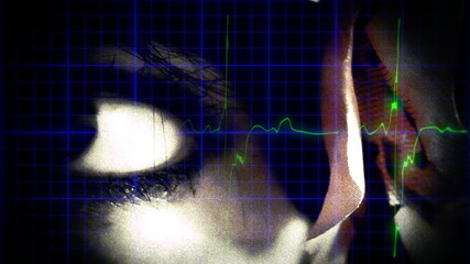 EKG heartbeat woman eye dream