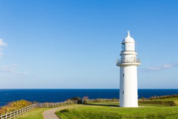 Lighthouse at the seaside near Rausu, Hokkaido, Japan