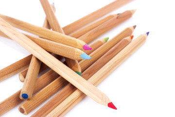 broken pencils on white background