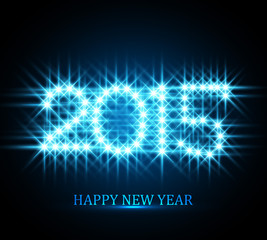 Vector Background for shiny Happy New Year 2015 stars blue color