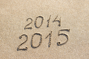 New Year 2015 season is coming instead 2014 concept at beach san