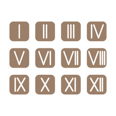 Set Roman numerals 1-12 icon. vector