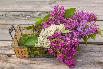 Lilac on a wooden  table