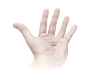 Isolated hand with coin