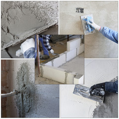 worker plastering tool plaster marble on interior plaster rough