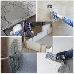 worker plastering tool plaster marble on interior plaster rough