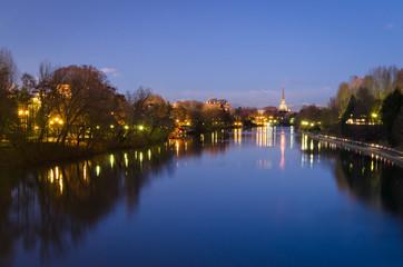 Turin (Torino), river Po and Mole Antonelliana (blue hour)