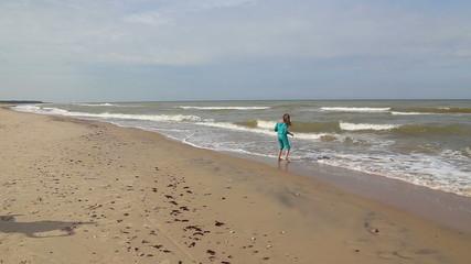 Running Girl Baltic sea coast