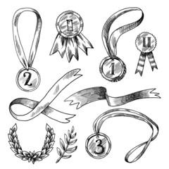 Award decorative icons set