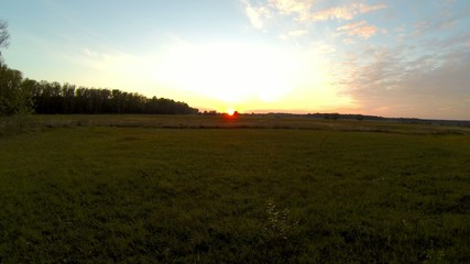 Sunset over field timelapse. Autumn time.