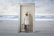 Leinwanddruck Bild - The door at the beach