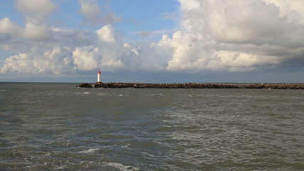 Baltic Sea lighthouse Ventspils Latvia video