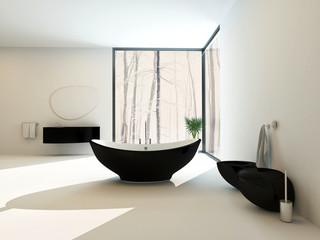 Contemporary black bathroom suite