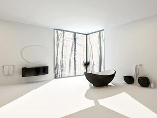 Luxury modern bathroom interior with black tub