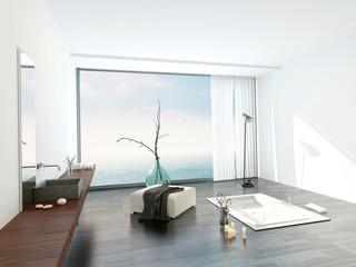 Modern bright white bathroom interior