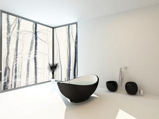 Boat-shaped black bathtub