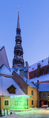View on the church of Saint Peter in old Riga, Latvia