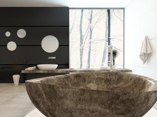 Modern freestanding marbled bathtub
