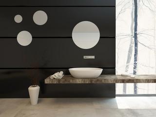 Modern bathroom decor on a black wall