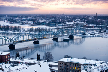 The railway bridge over the river Daugava, Latvia