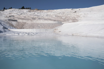 Travertine pools and terraces in Pamukkale (Turkey)