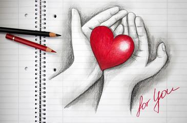 gezeichnete Liebeserklärung