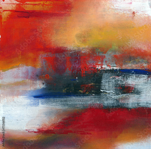 abstract original painting on canvas, main color red, for backgr © Maren Winter
