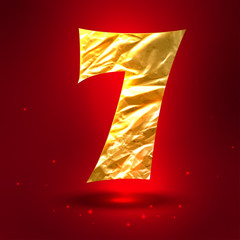 Figure 7, made of shiny golden crumpled foil