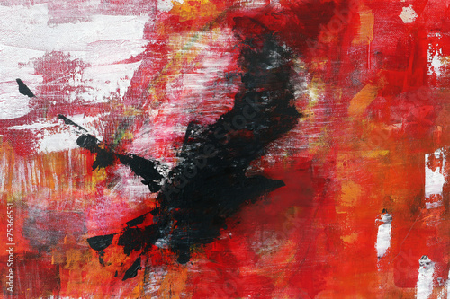 abstract painting on canvas, black raven is flying into the red, © Maren Winter