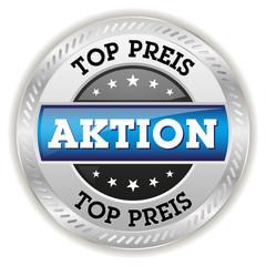 Blauer Top Preis Button mit metall Rand