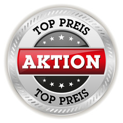Roter Top Preis Button mit metall Rand