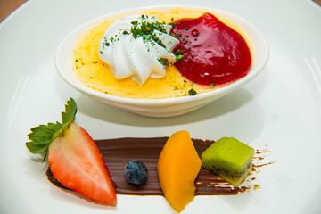 Dessert food on white plate