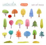 Fototapety Watercolor set of trees