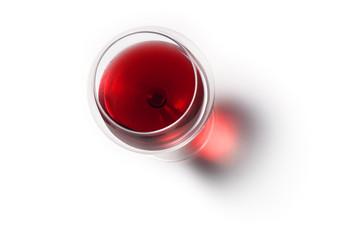 Calice di Vino Rosso con Ombra. Vista dall'alto