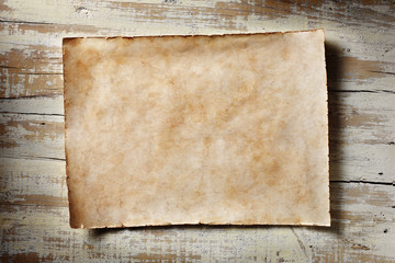 old parchment on aged white wood