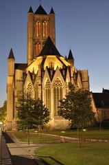 Saint Nicholas' Churchat night located in Ghent, Belgium