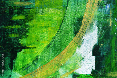 Fototapeta abstract painting on canvas, main color green