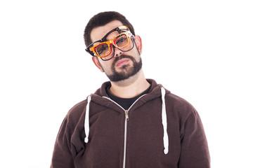 Guy wearing muiltiple glasses