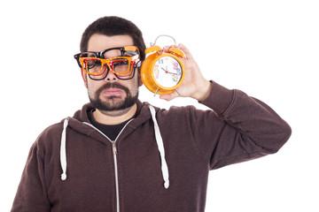 Surprised guy using multiple glasses