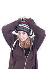 Beautiful girl wearing bonnet