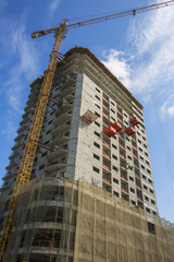 View of crane and building construction