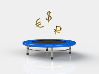 Economy Jumping on a trampoline on a white background